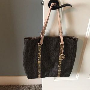 Brown with gold MK Michael Kors Tote Purse